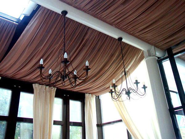 Потолок из ткани фото